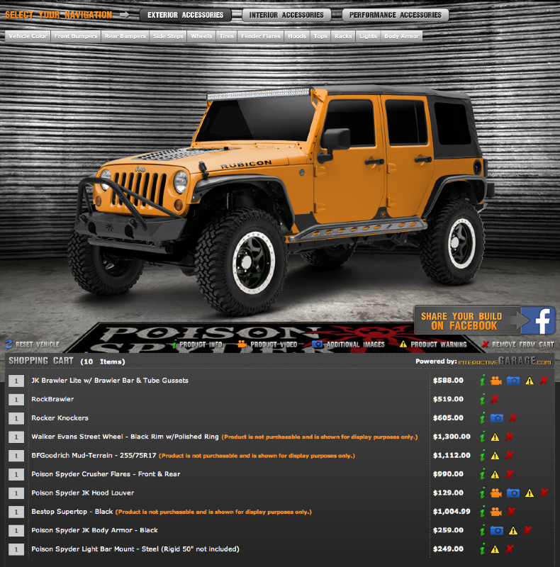 Screen shot of built up Jeep® JK and shopping cart info page